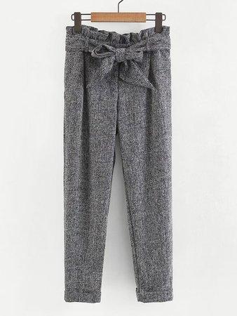 Frill Waist Self Tie Pants