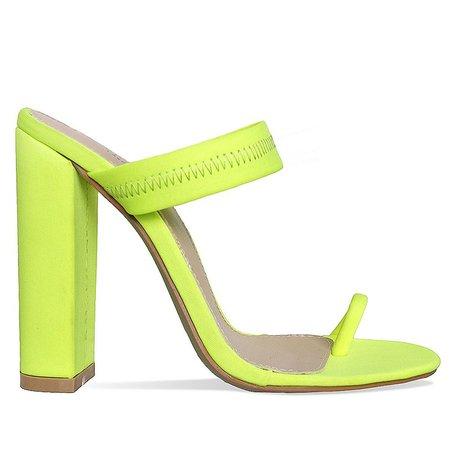 Top Quality Neon Pink Orange Block Heel Sandals Lycra Toe Loop Mules High Heels - Buy Women Block Heels Sandals,Summer Mules,High Fashion Sandals Product on Alibaba.com