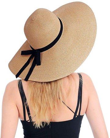 Amazon.com: Womens Beach Straw Hat UPF 50 Wide Brim Sun Blocking Hat Foldable Summer Hat for Travel Floppy Sun Hat Women: Clothing