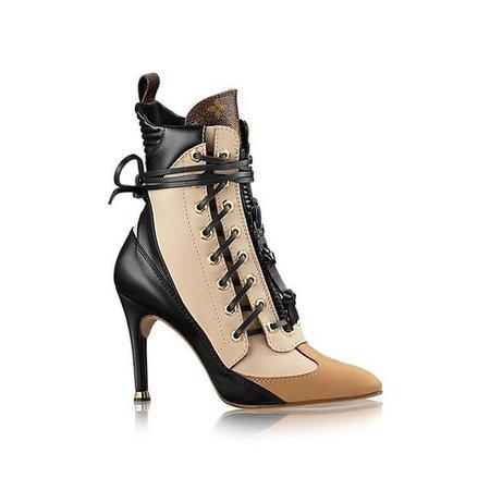 Louis Vuitton Laureate Monogram Canvas Trim Half Leather Boots