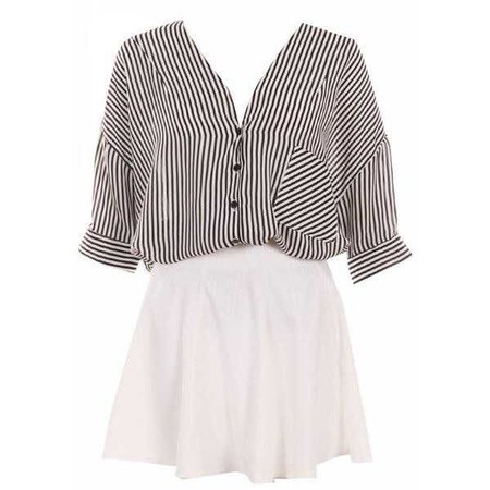 Two-piece Black Striped Puff Skirt Set ($29)