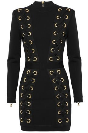 Lace-up stretch-knit mini dress | BALMAIN | Sale up to 70% off | THE OUTNET