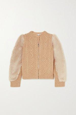 Beige Faux fur-trimmed cable-knit wool jacket | Stella McCartney | NET-A-PORTER