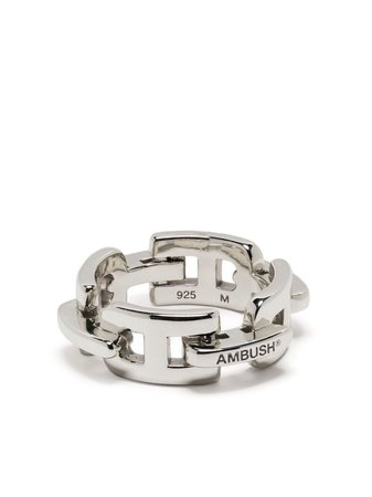 AMBUSH engraved-logo Chain Ring - Farfetch
