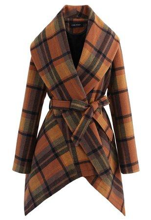Plaid Pattern Rabato Coat in Caramel - Retro, Indie and Unique Fashion