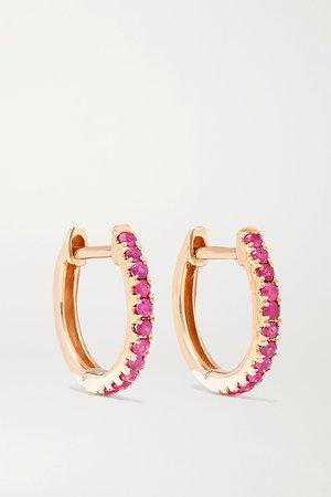 Rose gold Huggies 18-karat rose gold ruby earrings   Anita Ko   NET-A-PORTER