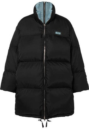 Oversized Quilted Shell Down Jacket - Black