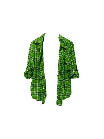 Grunge Green Flannel Check Plaid Shirt