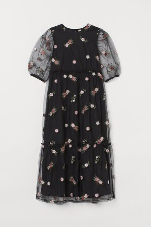 Embroidered Mesh Dress - Black