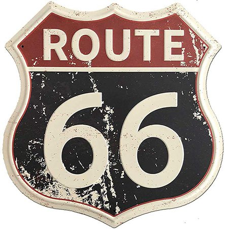 "Amazon.com: SUDAGEN Route 66 Signs Vintage Road Signs with Polygon Metal Tin Sign for Wall Decor Art 12"" x 12"" (Route 66): Home & Kitchen"