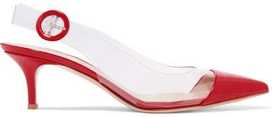 55 Pvc And Patent-leather Slingback Pumps - Red
