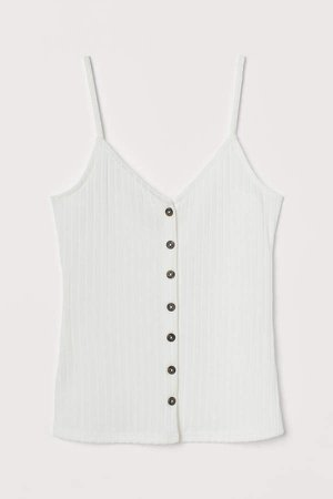 Ribbed Camisole Top - White