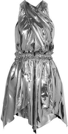 Kary Open-back Silk-blend Lamé Mini Dress - Silver