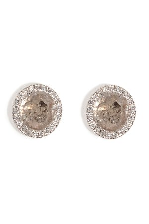 14K White Gold Diamond Slice Studs with Micro Pave Diamonds Gr. One Size