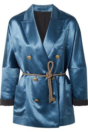 Brunello Cucinelli | Belted double-breasted satin blazer | NET-A-PORTER.COM