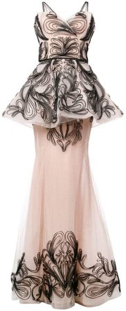 embroidered sleeveless tule gown