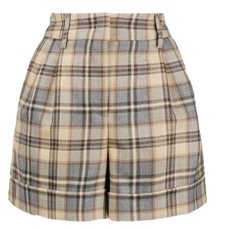 neutral plaid shorts