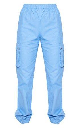 Blue Cargo Pocket Trouser   Trousers   PrettyLittleThing