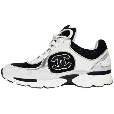 Chanel White & Black Glitter Cc Sneakers