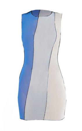 Blue Mesh Contrast Panel Stitch Bodycon Dress   PrettyLittleThing USA
