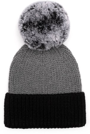 Myrna Colorblock Beanie with Faux Fur Pm