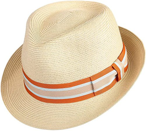 JANETSHATS Men's Trilby Havana Straw Fedora Panama Sun Hat Cuban Hats Nature at Amazon Men's Clothing store