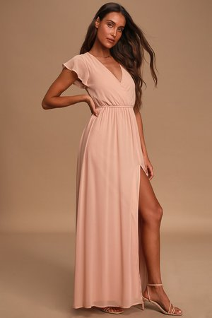 Elegant Blush Maxi Dress - Short Sleeve Maxi Dress - Lulus