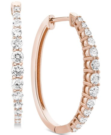 Macy's Diamond Hoop Earrings (1 ct. t.w.) & Reviews - Earrings - Jewelry & Watches - Macy's