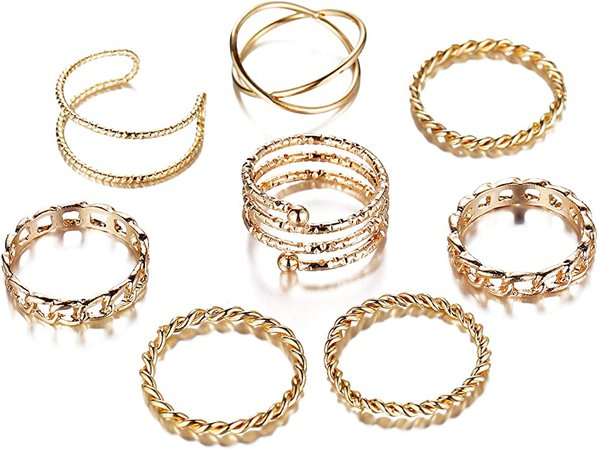 Amazon.com: 8 PCS Simple Knuckle Midi Ring Set Vintage Plated Gold/Silver for Women/Girl Finger Stackable Rings Set DIY Jewelry Gifts: Clothing