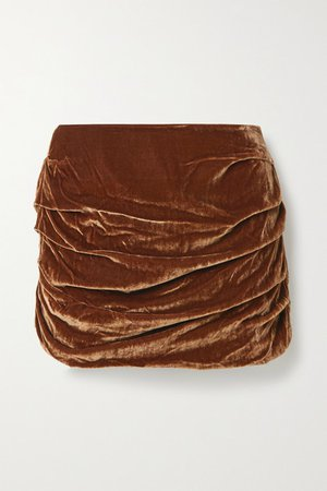 Ruched Velvet Mini Skirt - Brown