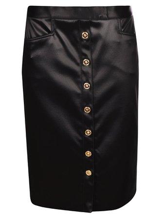 Versace Medusa Button Pencil Skirt