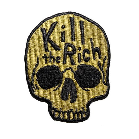 Kill The Rich Embroidered Patch. Metallic Gold Iron On Patch. | Etsy