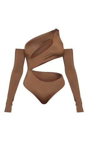 Chocolate Slinky Bardot Thumb Hole Cut Out Bodysuit   PrettyLittleThing USA