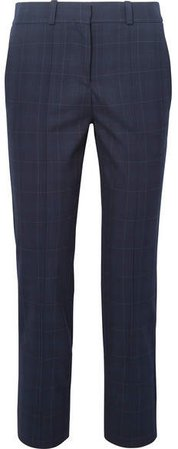 Checked Twill Tapered Pants - Navy