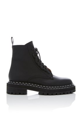 Proenza Schouler Leather Contrast-Stitched Combat Boots