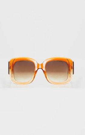 Orange Oversized Chunky Squareframe Sunglasses | PrettyLittleThing USA