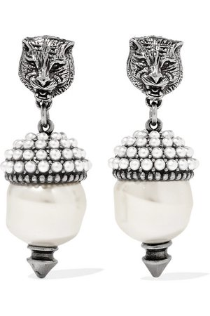 Gucci | Silver-tone faux pearl earrings | NET-A-PORTER.COM