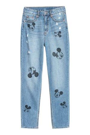 Slim Mom Jeans - Denim blue/Mickey Mouse - Ladies | H&M US