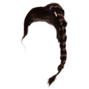 Black Dark Brown Hair Braid Ponytail PNG