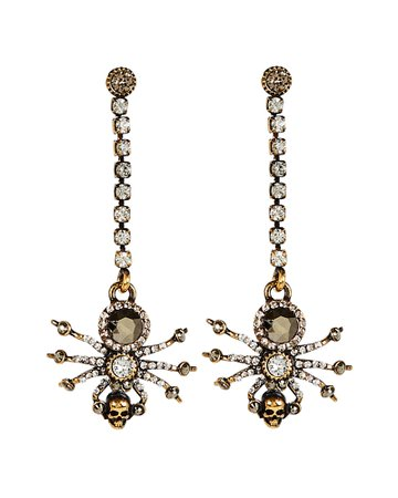 Alexander McQueen Spider Crystal Chain Earrings | INTERMIX®
