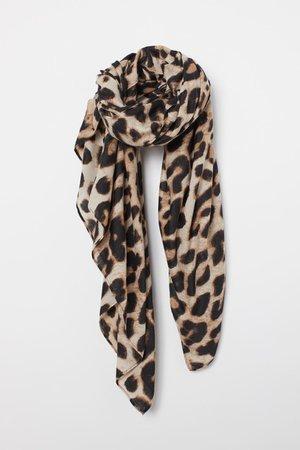 Patterned Scarf - brown beige animal print - Ladies | H&M US
