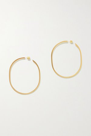 Gold Oval Thread gold-plated hoop earrings | Jennifer Fisher | NET-A-PORTER