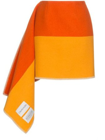 Calvin Klein 205W39Nyc Striped Blanket Skirt SB180W206 Orange | Farfetch