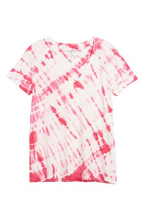 Lucky Brand Essential Tie Dye V-Neck T-Shirt | pink