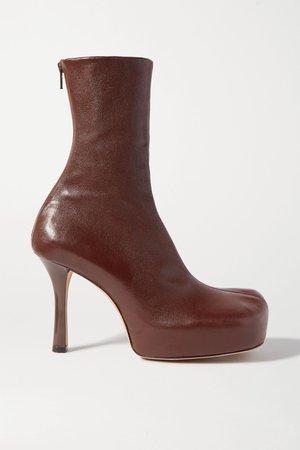 Brown Leather platform ankle boots | Bottega Veneta | NET-A-PORTER