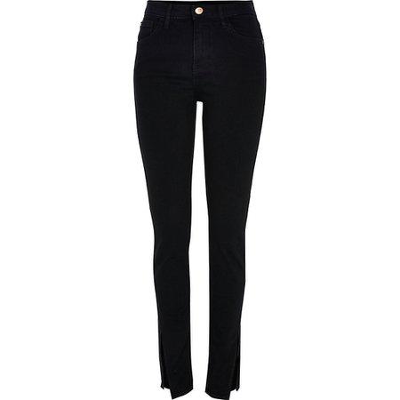Black slim high rise split revelstoke Jeans | River Island