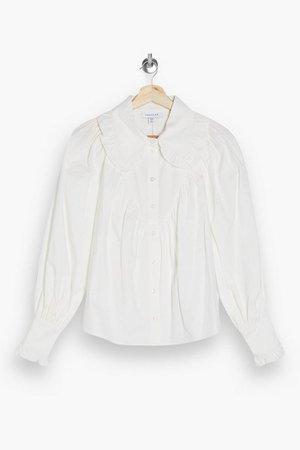 White Poplin Ruffle Collar Blouse | Topshop