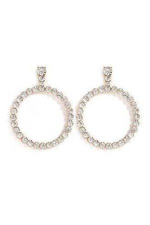 Rhinestone Hoop Drop Earrings