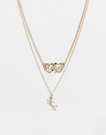 ASOS DESIGN multirow necklace with angel and cupid pendants in gold tone | ASOS