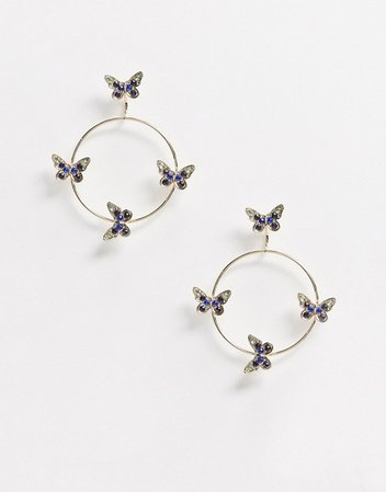 ASOS DESIGN front and back earrings with butterfly detail in gold tone | ASOS
